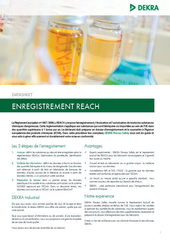 DEKRA Process Safety Datasheet Enregistrement REACH Couverture