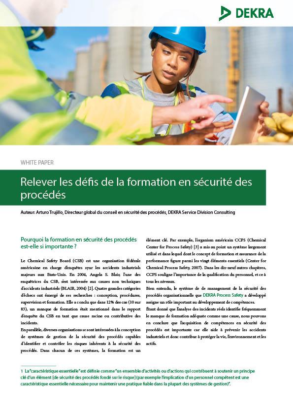 DEKRA White Paper Relever Les Defis De La Formation En Securite Des Procedes